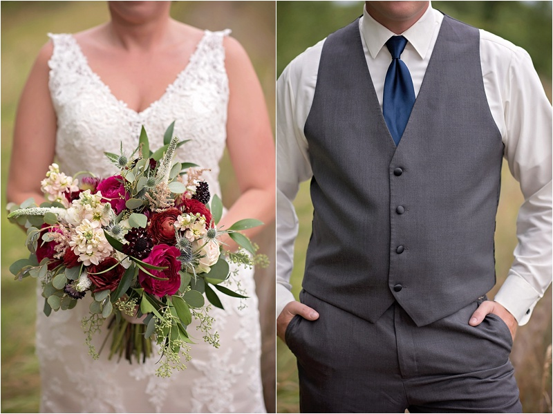 rustic glam wedding details with red and burgundy bouquet with navy and gray suit