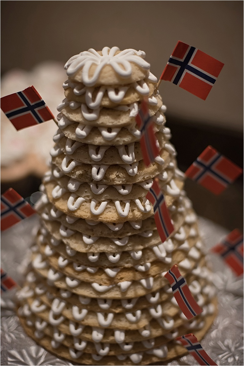 norwegian wedding cake at formal wedding