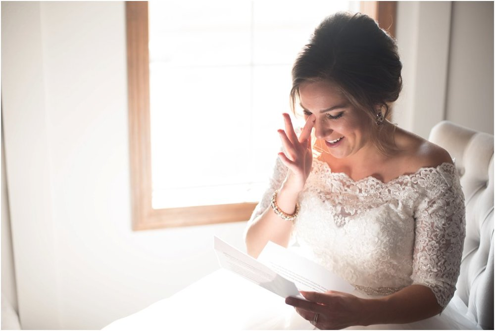 bride cries reading grooms letter