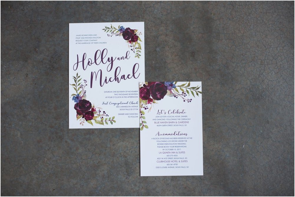 Boho floral plum and blush wedding invitation suite