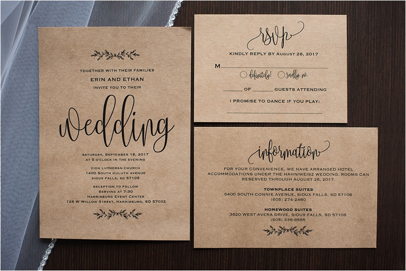 kraft paper wedding invitation suite