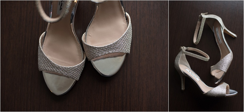 silver sparkle ankle strap bridal shoes