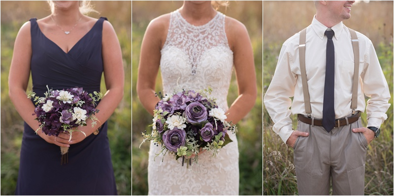 plum and ivory wedding party attire details