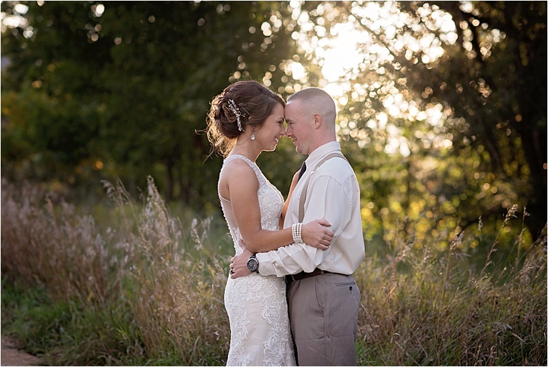 bride and groom portrait session at sunset