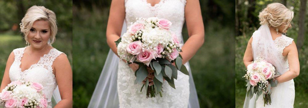 pink roses with white hydrangeas and baby's breath bridal bouquet bride portraits