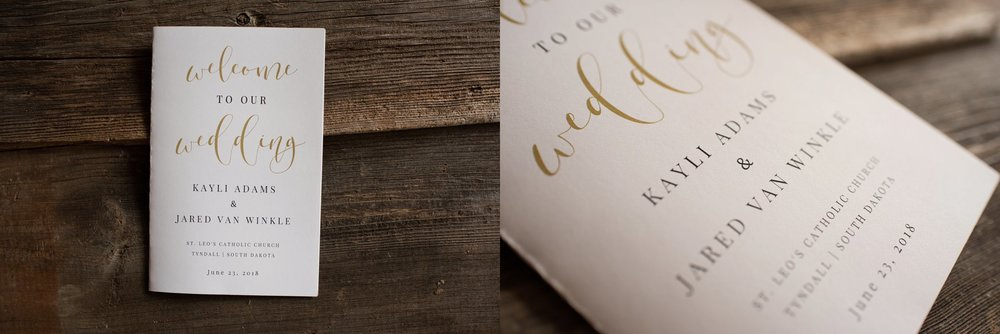 rustic wedding details of wedding program