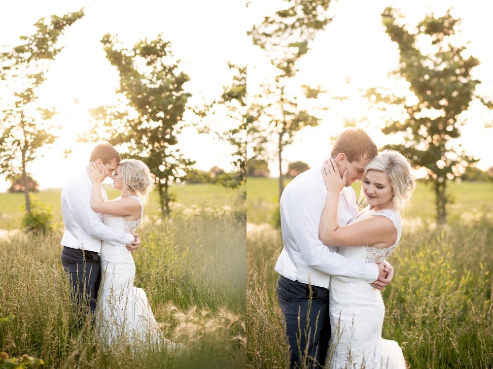 sunset portraits for bride and groom