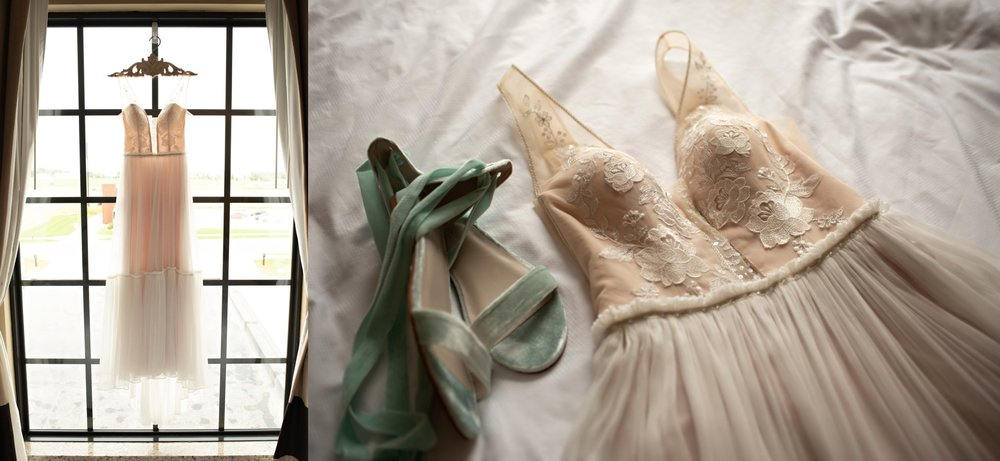 wedding dress and shoes laid flat