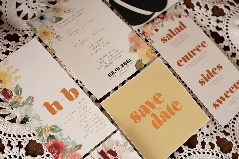 modern 70s theme wedding stationery