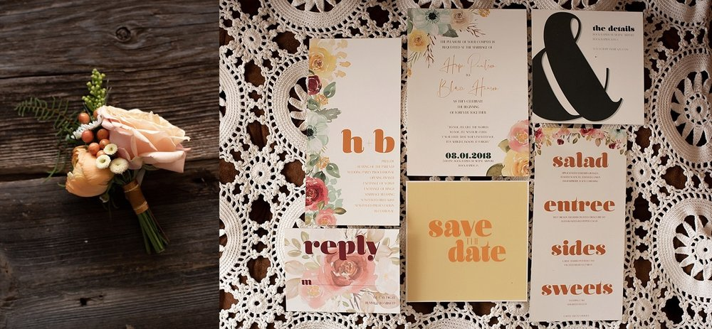 vintage modern 70s wedding invitations