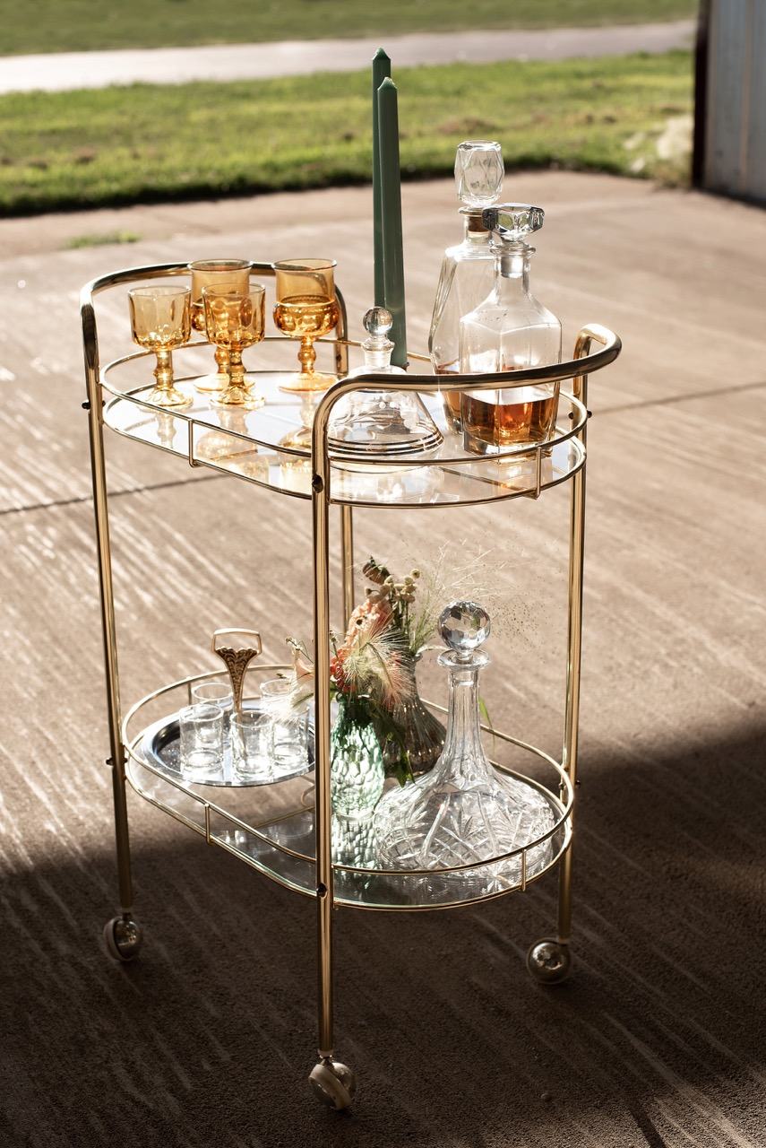 gold and glass bar cart