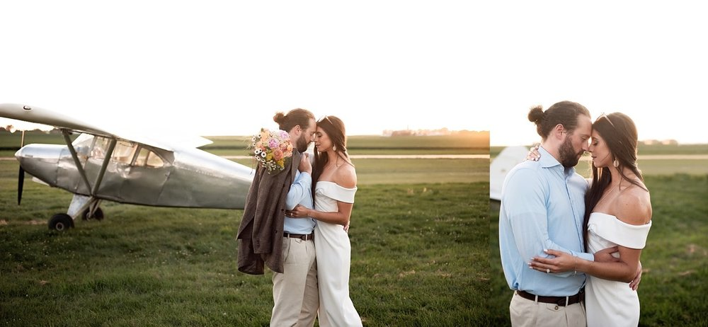 vintage 70s modern styled shoot with piper airplane