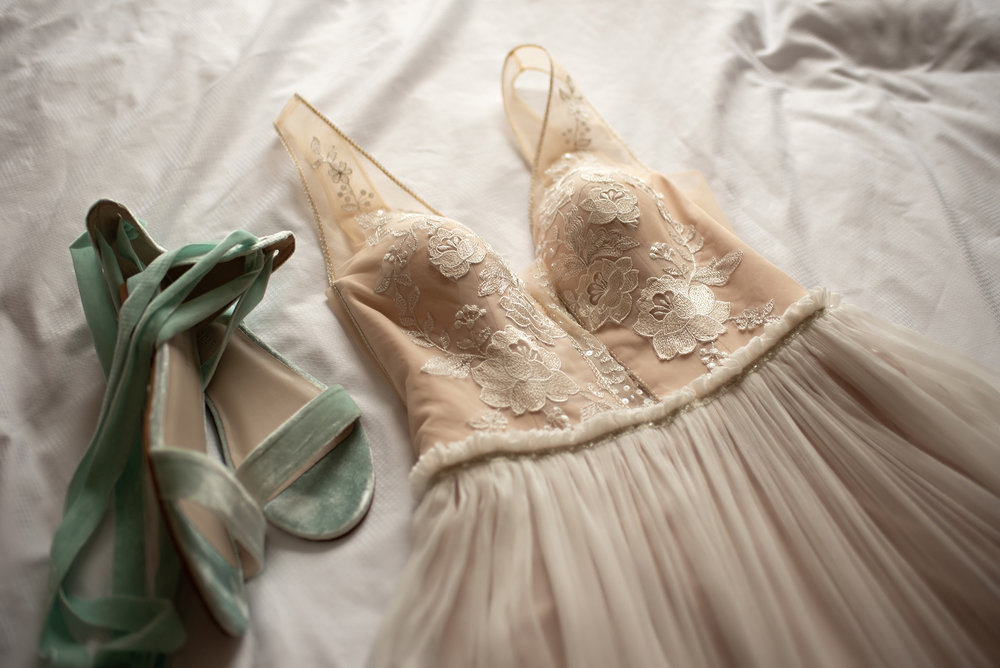 mint green velvet wedding shoes with blush wedding dress