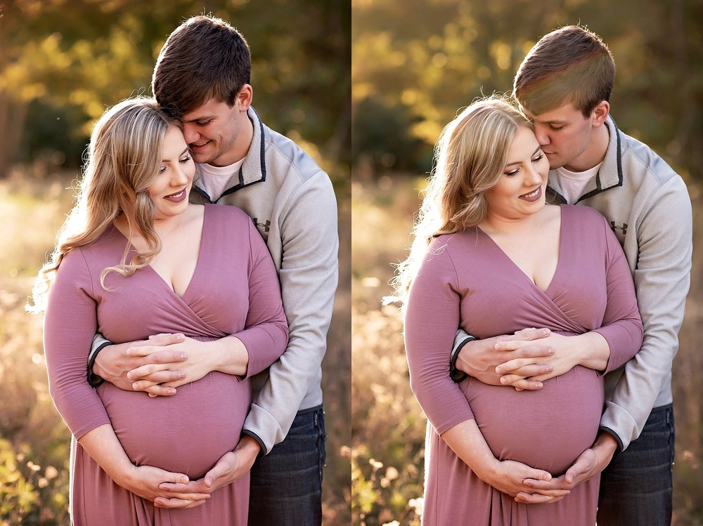mom and dad cuddle during maternity session