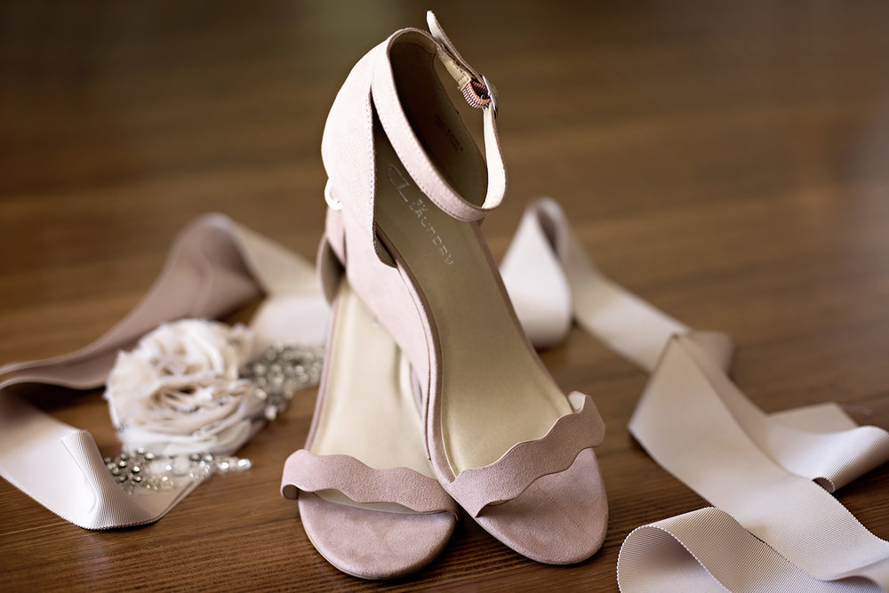 blush wedding shoes and latte bridal belt