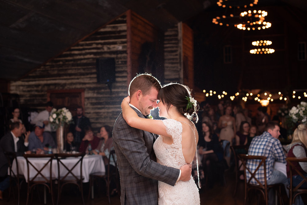 bride and groom first dance the canton barn llc