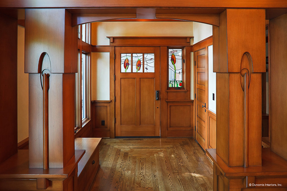 SIMPSON Craftsman entry door and stain glass