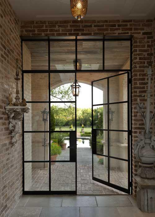 Traditional brick with modern steel door