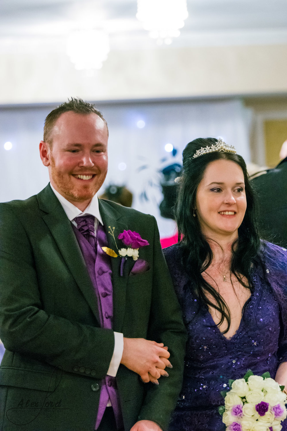 the happy bride and groom share a little moment together straight after their wedding ceremony
