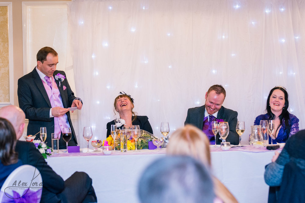 the top table during the wedding speeches