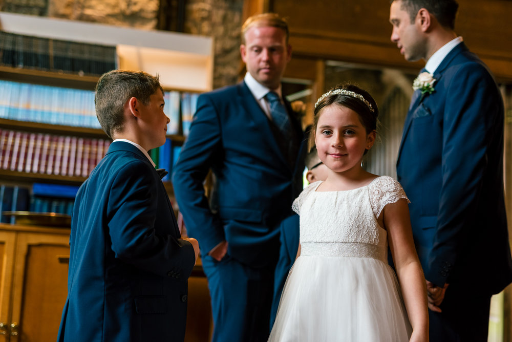 flower girl can't wait for the wedding to start