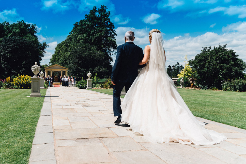 Dad walks daughter up the aisle to be married at Rowton Castle