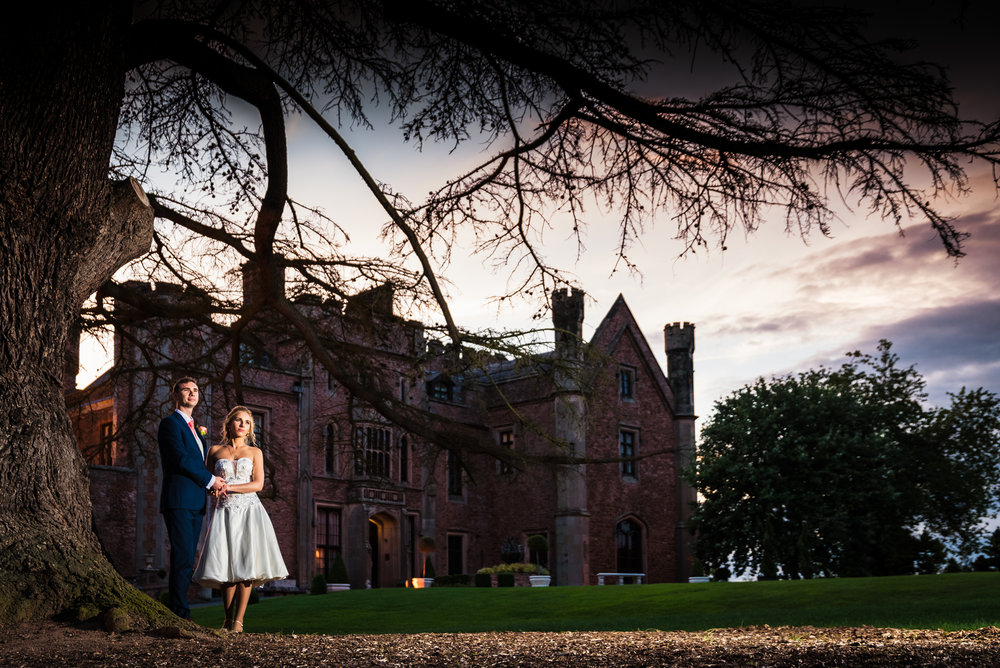 Rowton Castle bride and groom at night