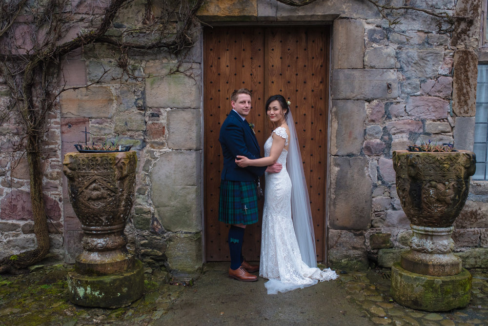Shropshire wedding photographer at Askham Hall in `Cumbria.
