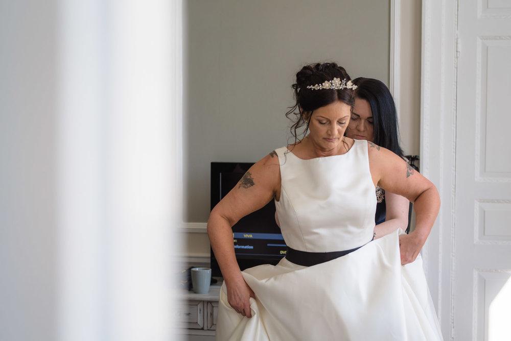 Bride gets ready