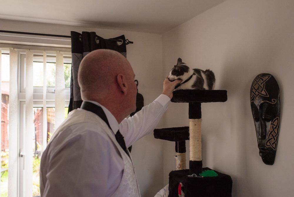 Groom pets his cat