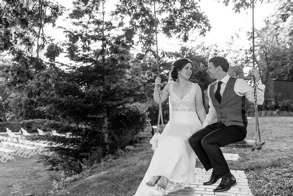 Happy couple on the swing