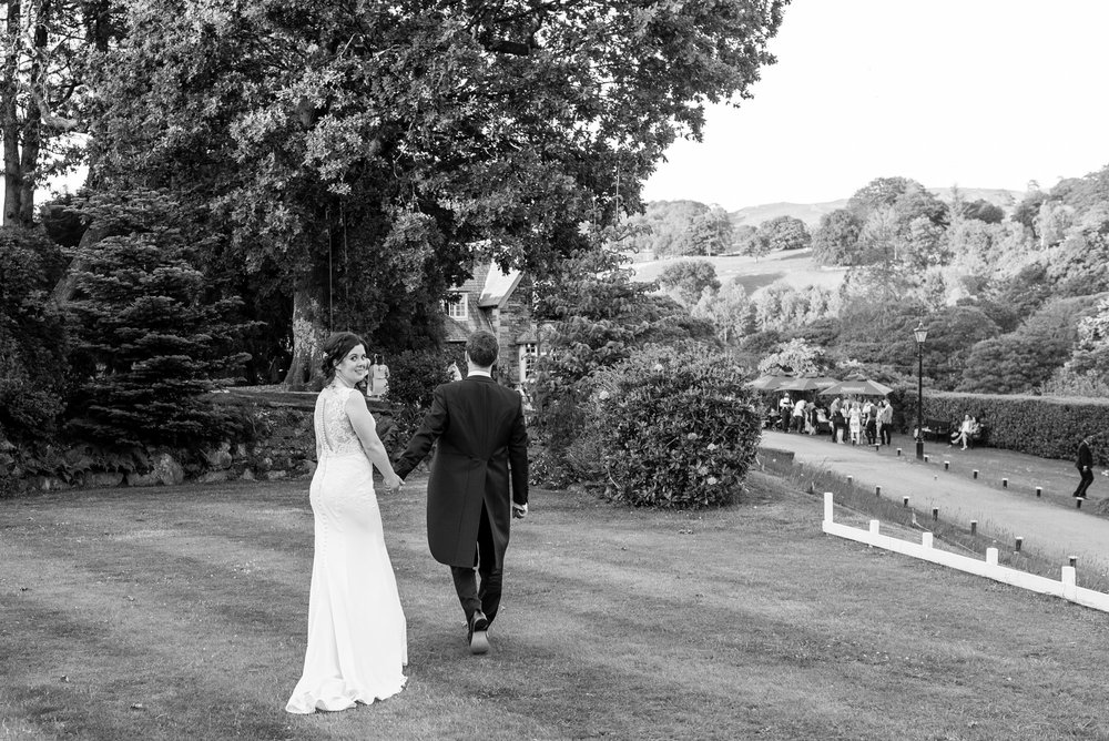 Bride looks back