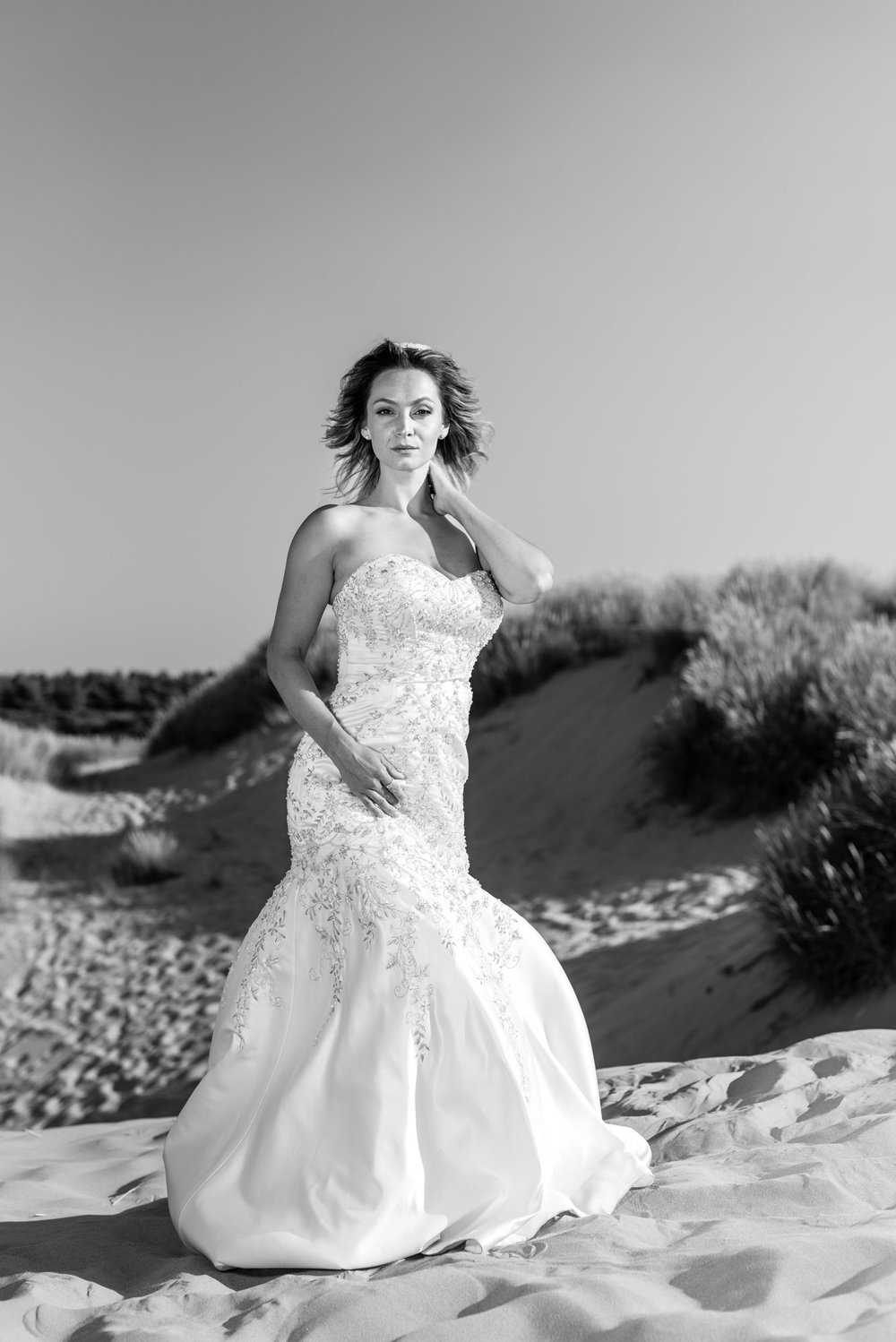 Wedding dress on the beach