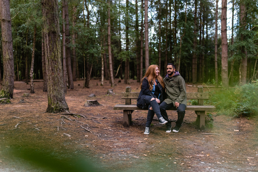 Sitting on a bench Delamere Forest Pre-shoot