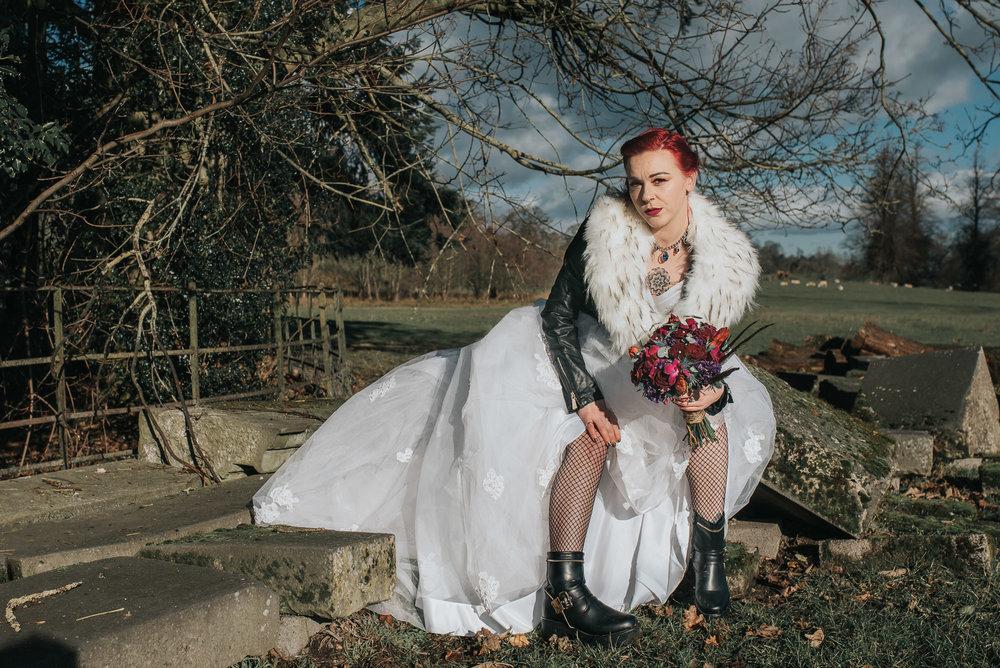 Bride sitting with attitude