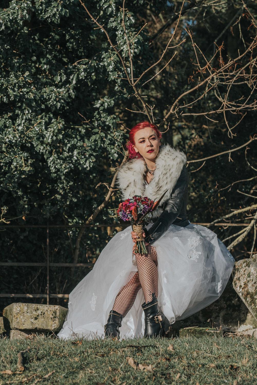 Happy Bride sitting