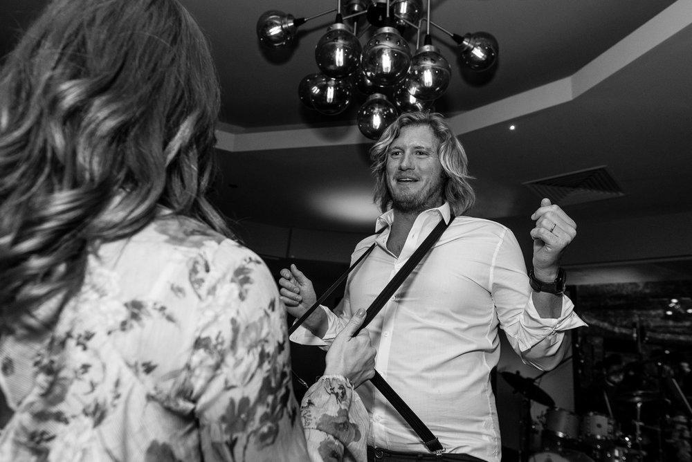 Wedding guest in full flow on the dance floor