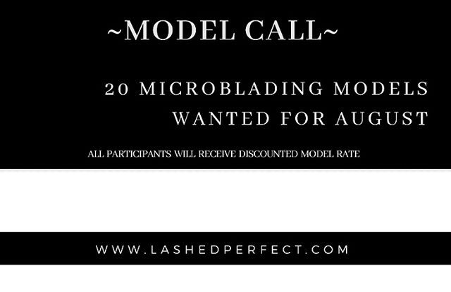 20 Microblading Models wanted for the month of August. If you've been wanting to try Microblading here's a chance to be a model and receive this service at a discounted rate! . . •To be considered first email a clear photo of your brows without makeup Email: lashedperfect@yahoo.com . . •Requirements: Must have some brow hair  Must not be prone to keloids No previous brow tattoos  No pregnancy/No diabetes . . •Before setting up a time, must visit www.lashedperfect.com and click on Microblading and scroll down to candidate requirements to see if you're a good candidate. If nothing applies to you contact me to reserve a time slot. Phone: 216.551.6790 or Email lashedperfect@yahoo.com . . •MODEL RATE $200~ 50% off the first session ($400 Value) •DEPOSIT REQUIRED ~ $20 deposit required to reserve a slot.