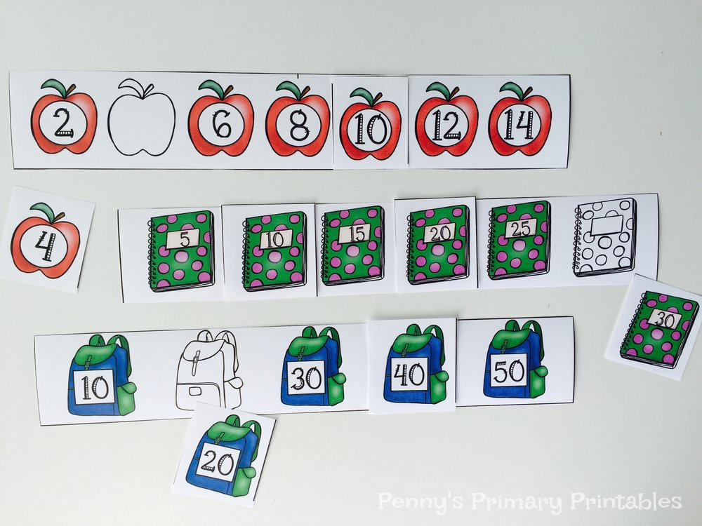 Students practice skip counting by filling in the missing numbers