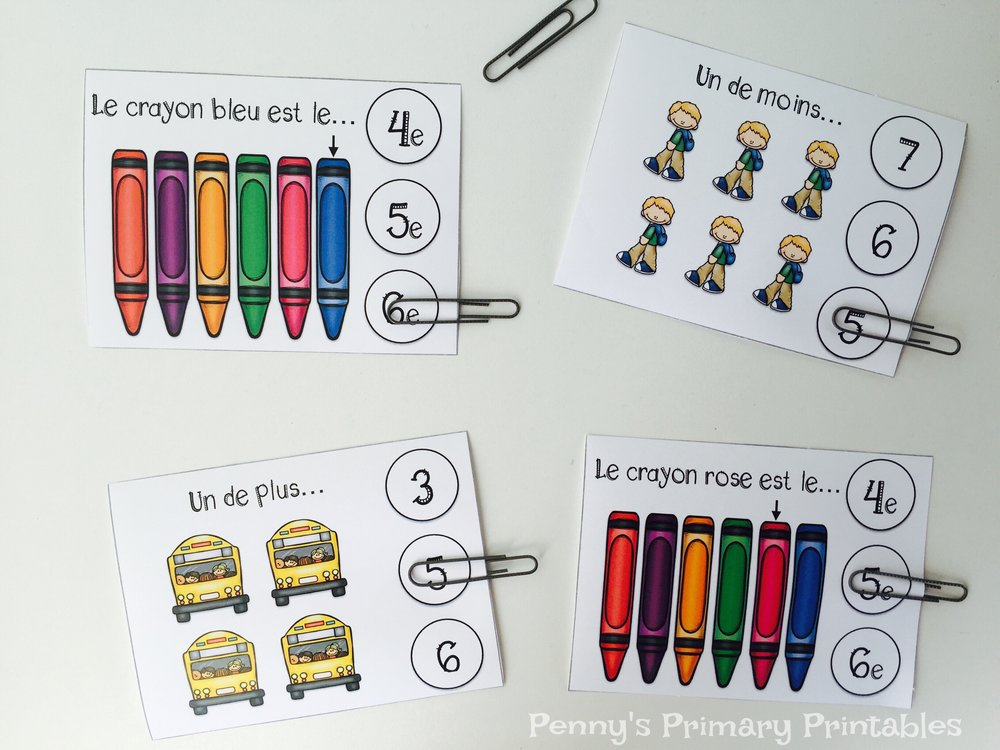 Students follow instructions to clip the correct number (I use paper clips, clothespins or bingo dabbers)