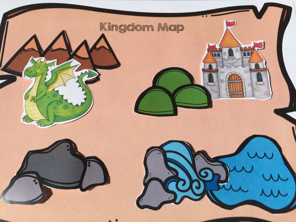 Students can create their own kingdom maps-I like to laminate the pieces so they can be re-used and have sticky tack on the back so the pieces don't move during play.
