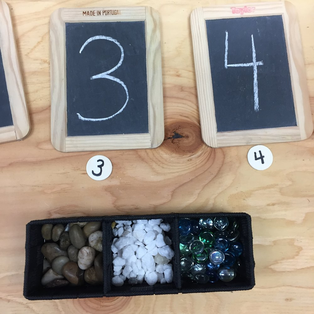 In this center, students use various materials and written numbers to organize and represent numbers. This center is very easy to set up as you can use any materials in the classroom. The students can write their own numbers on the chalkboards. You could use white boards or laminated paper instead of chalkboards.