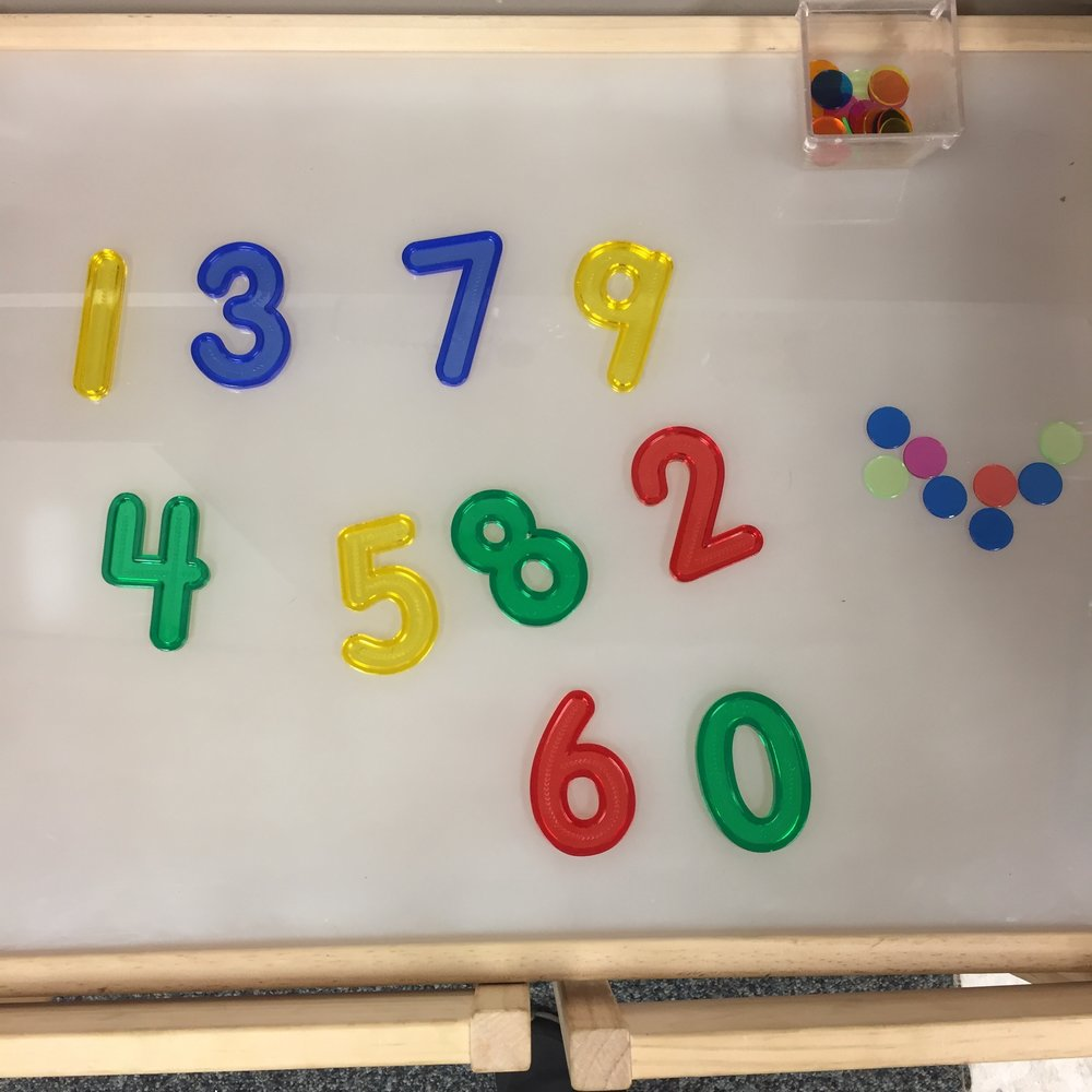 This is a very easy open-ended center as well. Students can play with the numbers and counters to represent numbers. Using the light table adds a fun element to the activity.