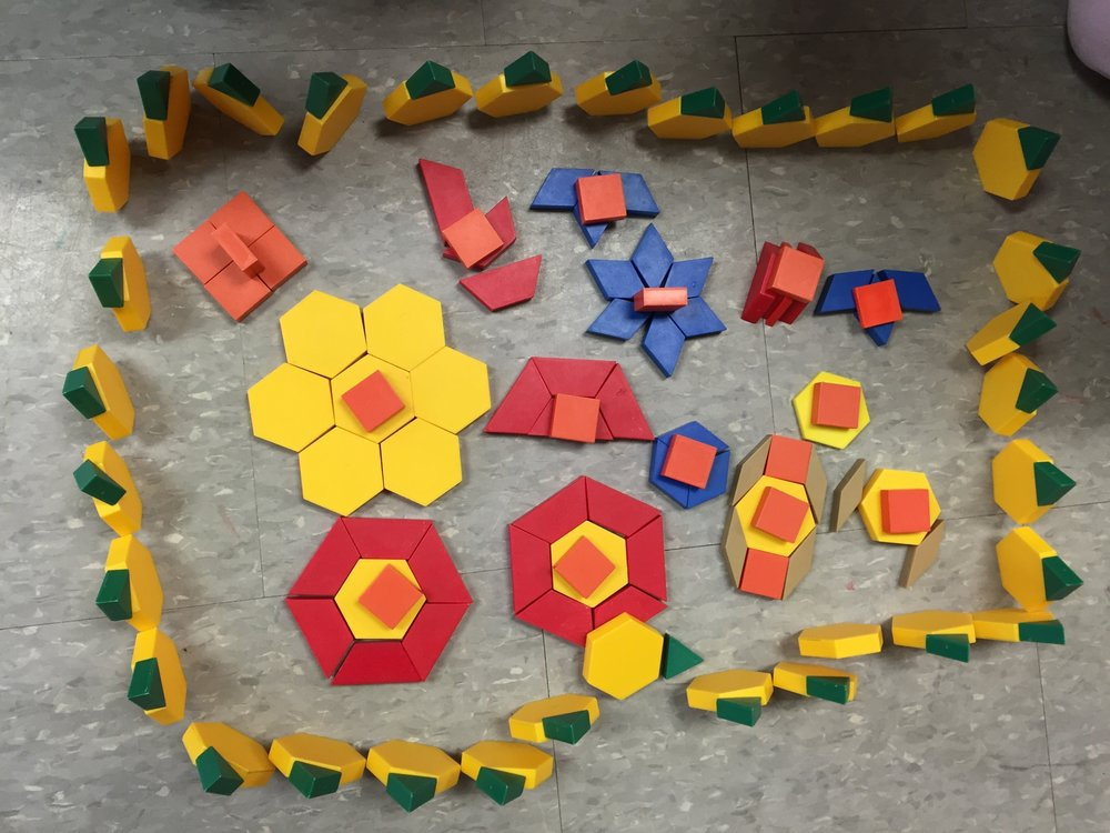 Here students have used shapes to create patterns- this was not a math center at the time but an example of how students show what they have learned through free play. I do like to put out these shape blocks as a math center as they are great for making patterns with or teaching the concept of symmetry.