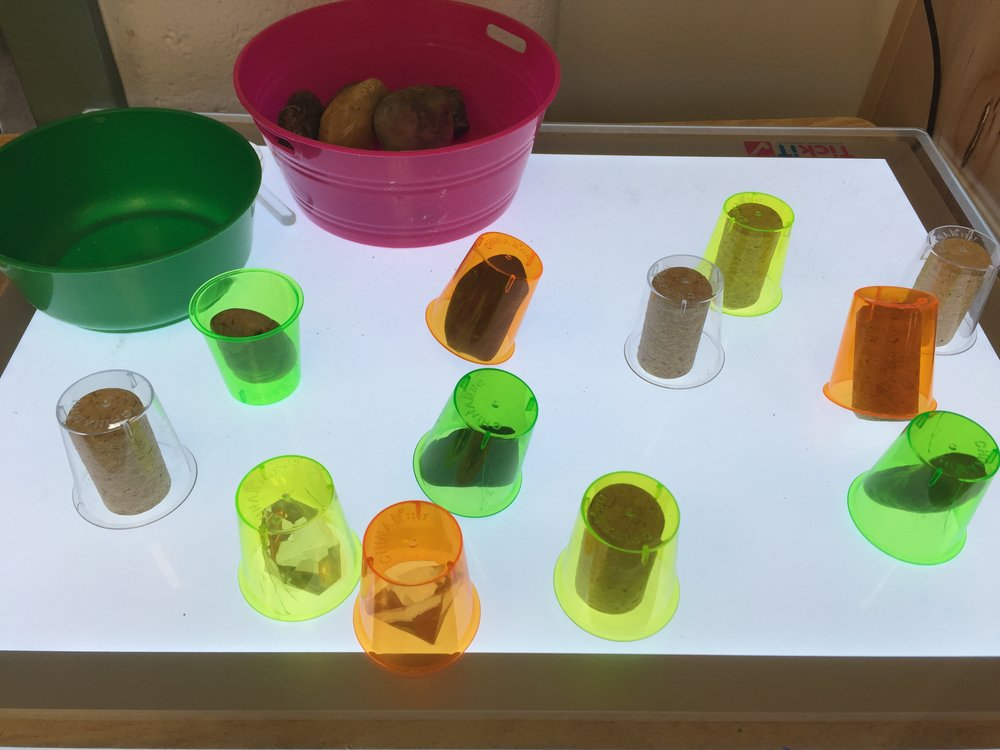 I love light tables! Any material can be seen from a different perspective and be made into something fun and educational. In my number centers post  here  I talked about counting and representing numbers using the light table. Each week for exploration I will put new materials out to explore. Here students are exploring with easy materials such as corks, jewels, rocks and plastic cups.