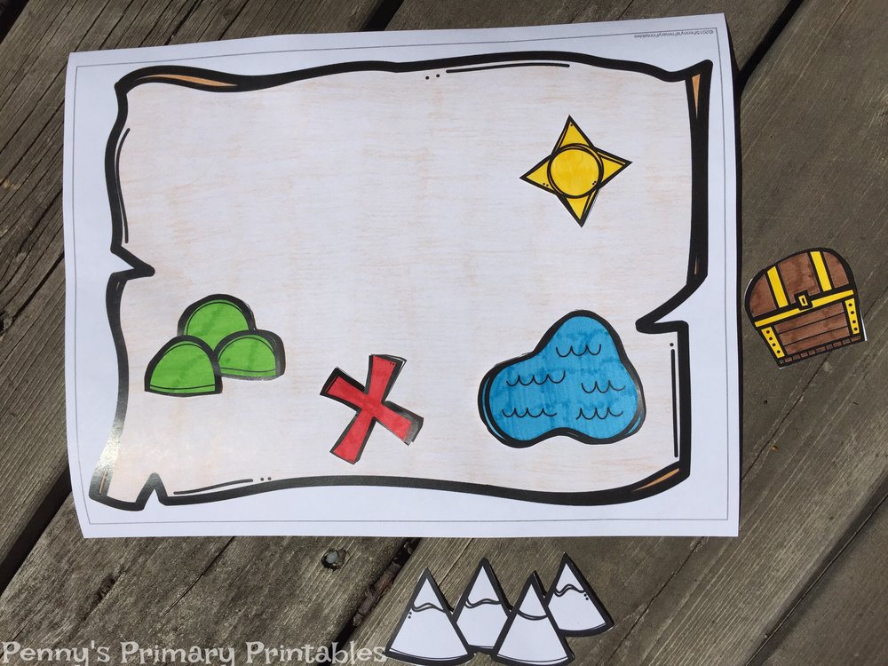 For this activity students use the provided map pieces to create their own treasure map. They can color the pieces and cut them out. If you want to create one map for the center just laminate the pieces and apply sticky tack to the back so your students can re-use.