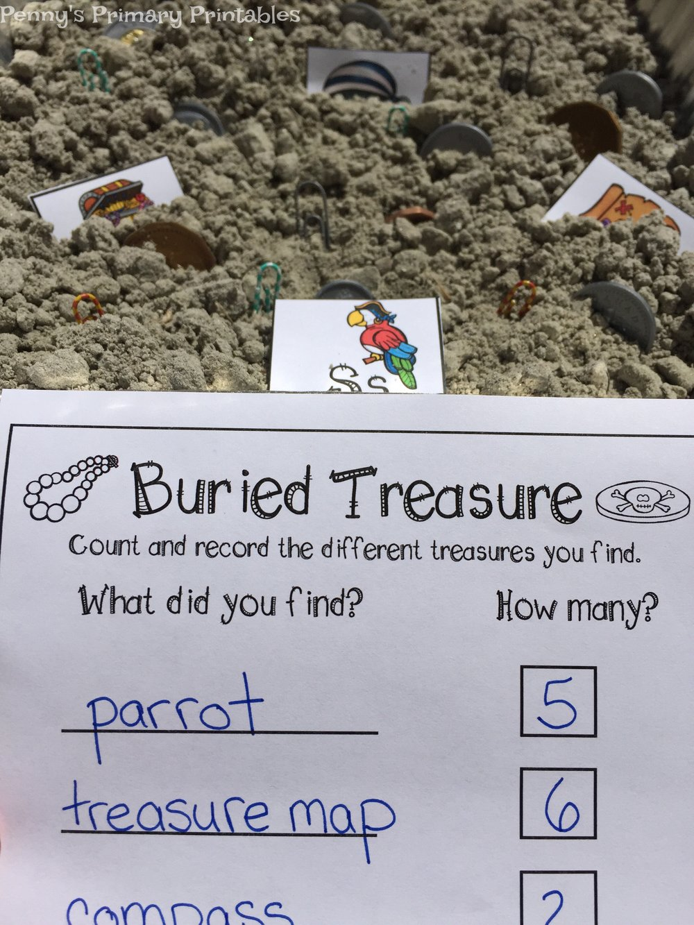 In the second alphabet activity students count the number of each item on the cards. They then use the included vocabulary cards to record the items and the number on the recording sheet. This sheet is a little more advanced as students need to write words and count the cards.