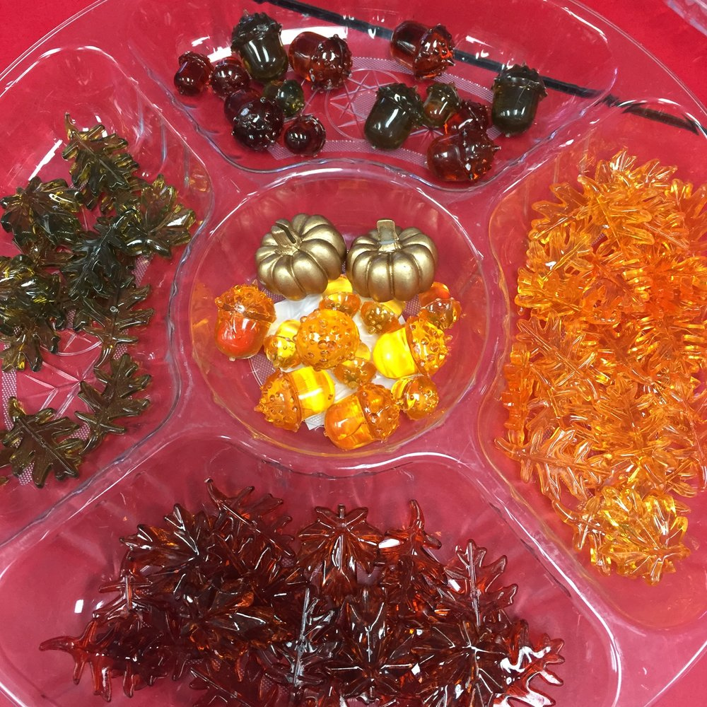 These Fall gems are very versatile, they can be used as math manipulatives, in sensory bins, in play or in art projects. I used these in a patterning center but they could be used for counting as well. Each year students are attracted to these brightly coloured gems that are too pretty not to touch! I have been collecting these over the years from dollar stores and craft stores.