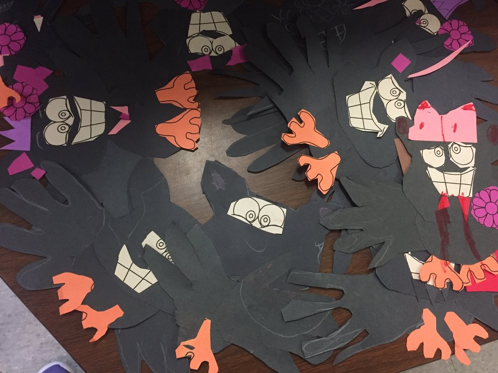 This is an easy craft that gets students to practice their cutting skills. They make the body by tracing their two hands and putting them together and then cutting out pieces to decorate their bat with. I put out pre-printed facial features to cut out just to make it easier for my Kinders. These would be cute to hang on the classroom door as name tags-just add a white sticker with their name on it.