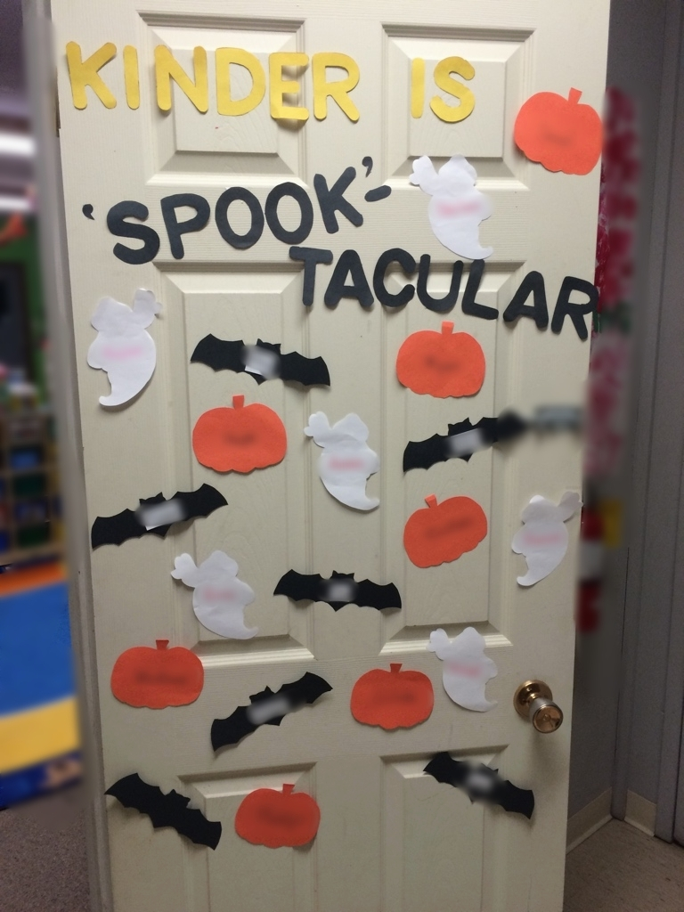 I love decorating for the holidays, I try to switch up the door every month or season- it takes some time to switch the door decor each time but I love the result! These were pre-cut shapes but usually I like to have a craft center where students can make their own name tag for the door.  It is a good way to promote name recognition as the students love to point out the names as they walk by.